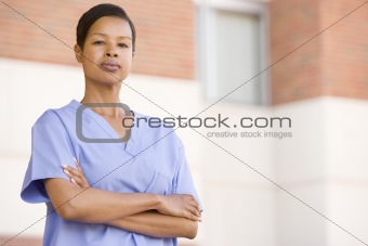 Nurse Standing Outside A Hospital