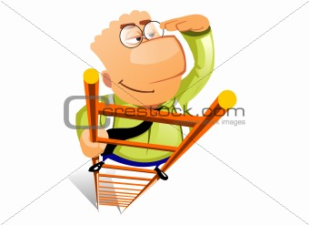 Businessman climbs ladder