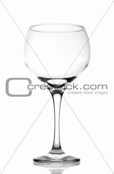 Large empty red wine glass