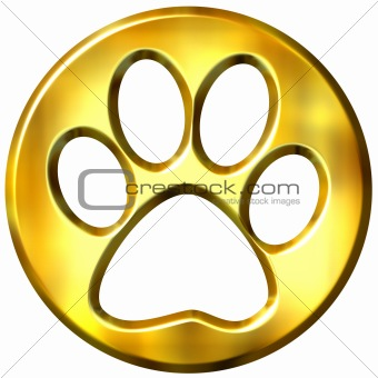 3D Golden Framed Cat Print