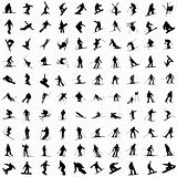 Hundred silhouettes of skiers