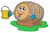 Smiling wooden keg holding beer