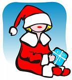 christmas girl and present