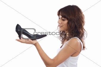 Attractive young girl with heels shoe