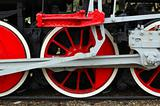 Fragment of old (retro) steam engine (locomotive).