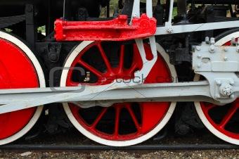 Fragment of old (retro) steam engine (locomotive).