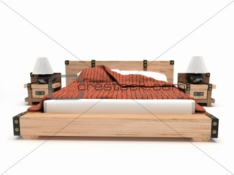 Bed on a white background