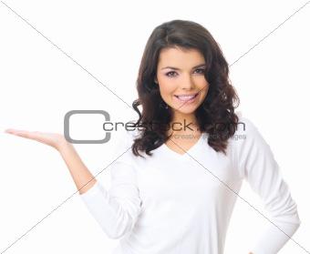 Woman on white
