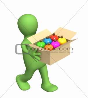 3d puppet, carrying a box with christmas balls