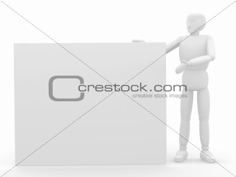 3d puppet with empty frame in hands