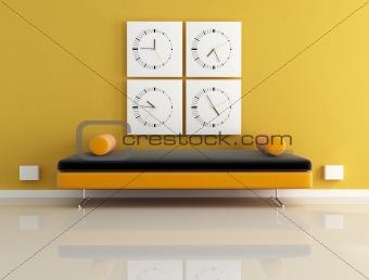 clock and orange sofa