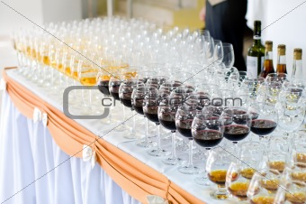 array of wineglasses, selective focus