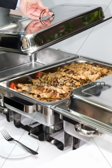 chafing dish heater with grilled meat