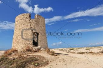Old windmill in Lefkas. Greece