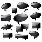 Glossy black speech bubbles
