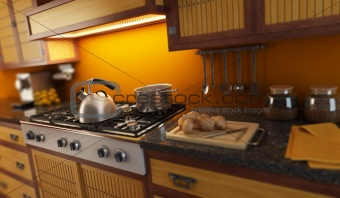 3d rendering close-up view of modern kitchen with small depth of