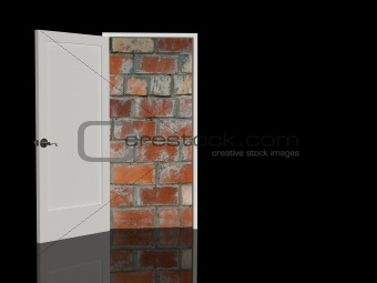 Brick wall in a doorway