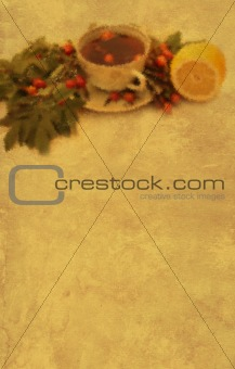 Grunge background with a cup herbal tea