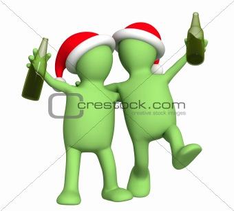3d puppets - friends celebrating Christmas
