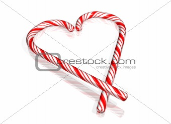 Candy cane in the form of a heart