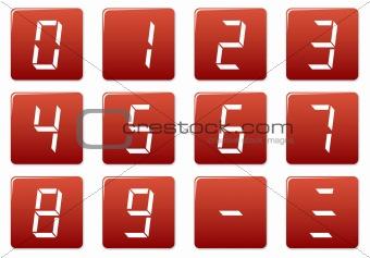 Liquid crystal digits square icons set.