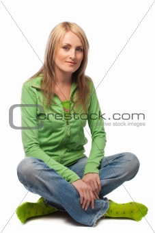 Attractive female, sitting, isolated