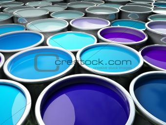 3d image of different color metal tank background