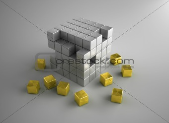 Crumbling gold and silver cubes