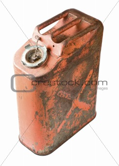 Old gas can isolated with clipping path