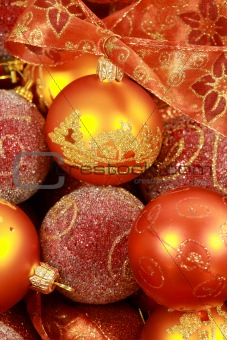 Christmas balls with ribbon