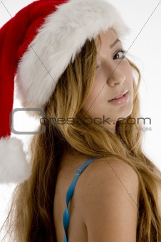 blonde girl with christmas hat