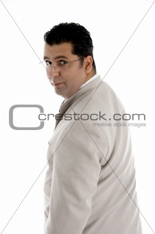 back pose of businessman with eyewear