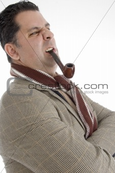 man posing with cigar in his mouth