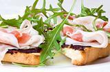 rocket salad and ham sandwich