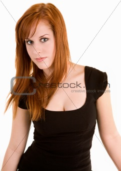 Beautiful Redhead Lady Isolated on White