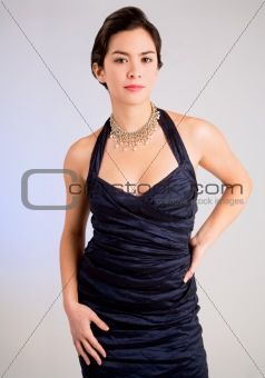 Beautiful Young Lady of Asian Descent in an Evening Gown