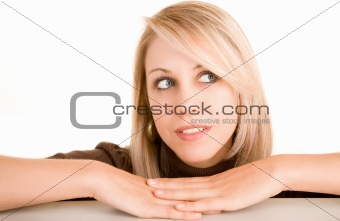 Beautiful Blonde Woman Looking Sideways