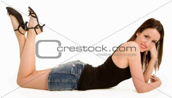 Smiling Beautiful Brunette Lying Down and Relaxing
