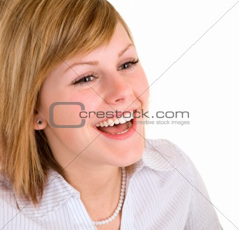 Beautiful  Blonde Girl Laughing
