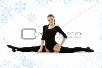fitness instructor in black leotard