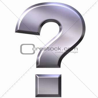 3D Silver Question Mark