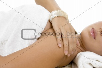 close view of women recieving massage