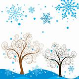 Tree winter background, vector