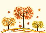 Tree autumn background, vector