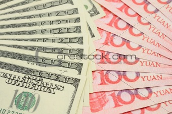 Fanned US dollar and China yuan