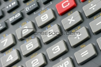 Close up of a calculator keypad