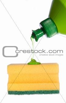 Sponge with flowing detergent