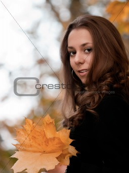 Autumn portrait of beauty young girl.