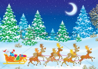 Santa Clause on his sleigh with reindeers
