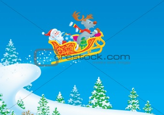 Santa Claus and Reindeer flies in a sleigh